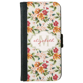 Girly Chic Floral Pattern with Monogram Name iPhone 6 Wallet Case