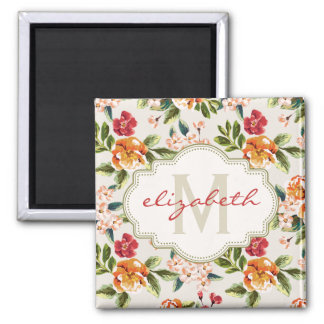 Girly Chic Floral Pattern with Monogram Name 2 Inch Square Magnet