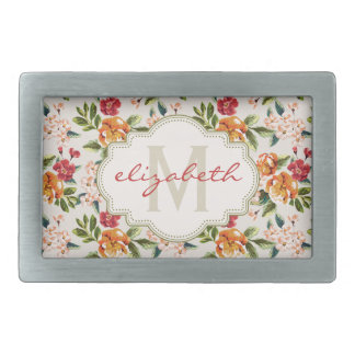 Girly Chic Floral Pattern with Monogram Name Rectangular Belt Buckle