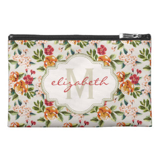 Girly Chic Floral Pattern with Monogram Name Travel Accessories Bags