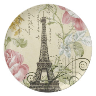 Girly Chic floral Vintage Paris Eiffel Tower Dinner Plate