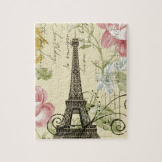 Girly Chic floral Vintage Paris Eiffel Tower Jigsaw Puzzle