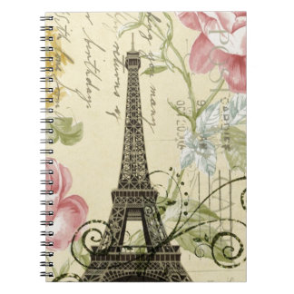 Girly Chic floral Vintage Paris Eiffel Tower Notebook