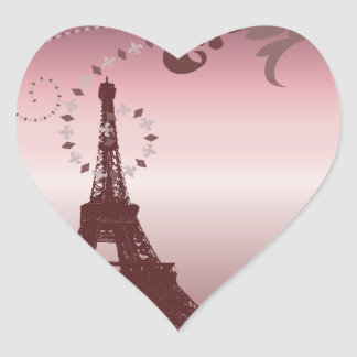 girly chic french country paris eiffel tower heart sticker