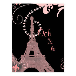 girly chic french country paris eiffel tower postcard