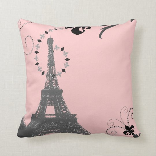 Paris Eiffel Tower Pillow 16 X 16: Girly Chic French Country Paris Eiffel Tower Throw Pillow