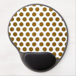 Girly Chic Gold Polka Dots Glitter Photo Print Gel Mouse Pad