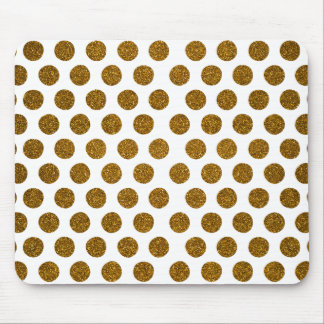 Girly Chic Gold Polka Dots Glitter Photo Print Mouse Pad