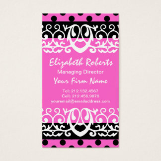 Girly Chic Hot Pink and Black Polka Dots Business Card