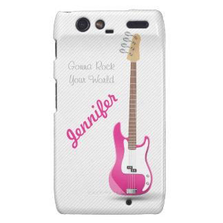 Girly Chic Hot Pink Electric Guitar White Stripes Motorola Droid RAZR Cases