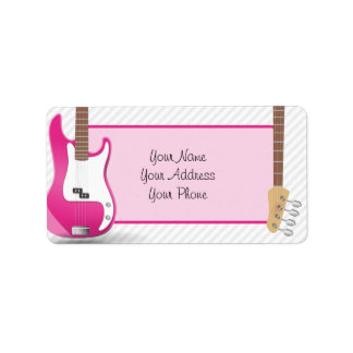 Girly Chic Hot Pink Electric Guitar White Stripes Label