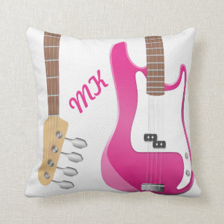 Girly Chic Hot Pink Electric Guitar White Stripes Throw Pillow