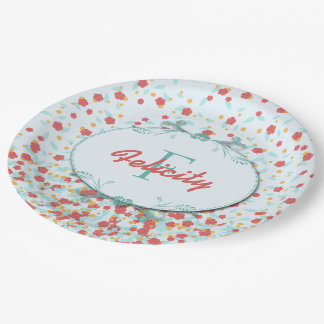 Girly Chic Monogram Coral and Teal Floral Pattern Paper Plate