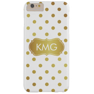 Girly Chic Monogrammed White and Gold Polka Dots Barely There iPhone 6 Plus Case