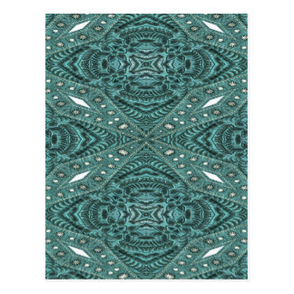 girly chic pattern teal turquoise Tooled Leather Post Card