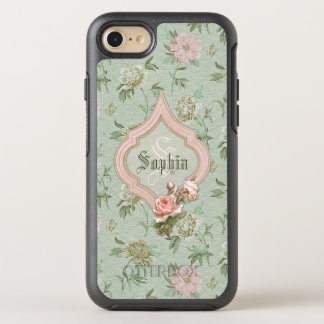 Girly Chic Pink and Green Floral Monogram OtterBox Symmetry iPhone 7 Case