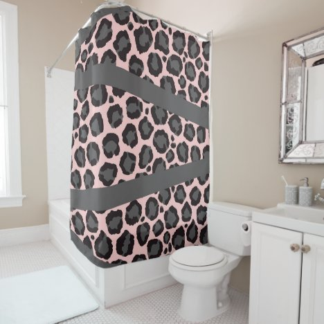 Girly Chic Pink Black Gray Leopard Cheetah Print Shower Curtain