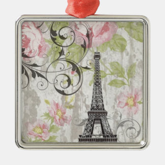 girly chic pink floral french country eiffel tower metal ornament