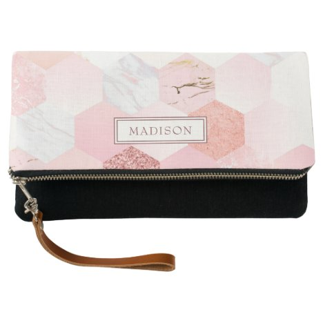 Girly Chic Pink Glitter Marble Personalized Name Clutch