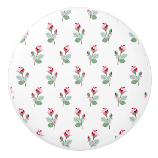 Girly Chic Pink Rosebuds Ceramic Knob