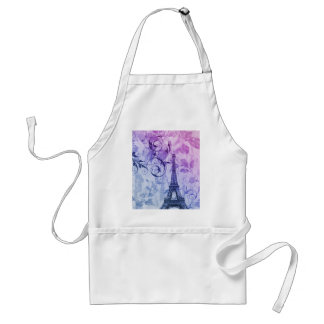Girly chic purple floral Girly Paris Eiffel Tower Adult Apron