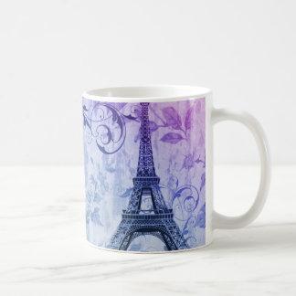 Girly chic purple floral Girly Paris Eiffel Tower Coffee Mug