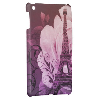 Girly chic purple floral Girly Paris Eiffel Tower iPad Mini Cover