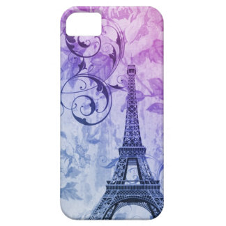 Girly chic purple floral Girly Paris Eiffel Tower iPhone SE/5/5s Case
