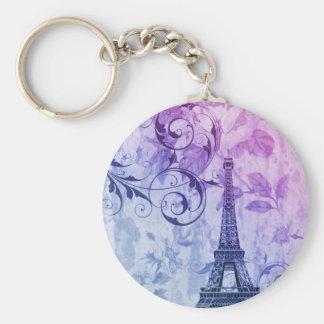 Girly chic purple floral Girly Paris Eiffel Tower Keychain