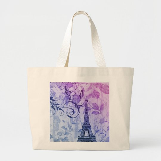Girly chic purple floral Girly Paris Eiffel Tower Large Tote Bag