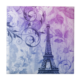 Girly chic purple floral Paris Eiffel Tower Ceramic Tile