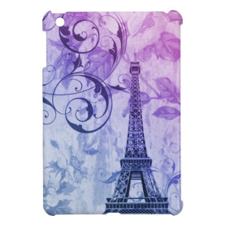 Girly chic purple floral Paris Eiffel Tower Cover For The iPad Mini
