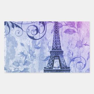 Girly chic purple floral Paris Eiffel Tower Rectangular Sticker