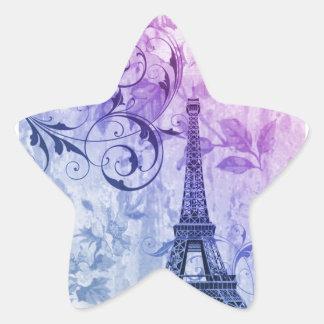 Girly chic purple floral Paris Eiffel Tower Star Sticker