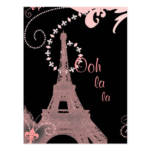 girly chic retro fashion paris eiffel tower postcard