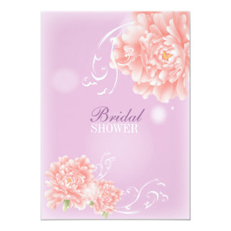 girly chic spring watercolor floral pink peony card
