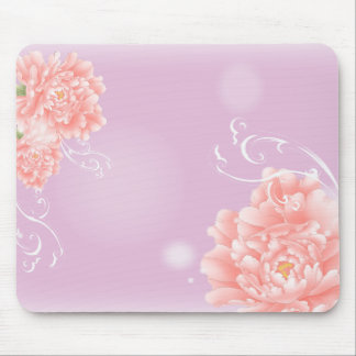 girly chic spring watercolor floral pink peony mouse pad