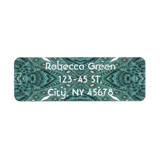 girly chic  teal turquoise tooled leather pattern label