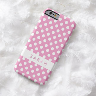 Girly Chic Trendy White Pink Polka Dots Barely There iPhone 6 Case