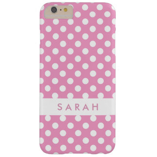 Girly Chic Trendy White Pink Polka Dots Barely There iPhone 6 Plus Case