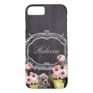girly chic vintage chalkboard floral monogram iPhone 7 case