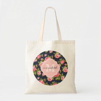 Girly Chic Vintage Roses with Custom Monogram Tote Bag