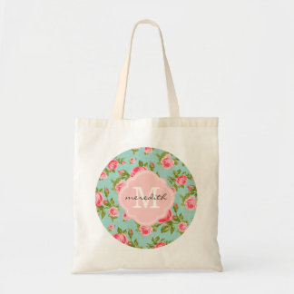 Girly Chic Vintage Roses with Custom Monogram Tote Bag