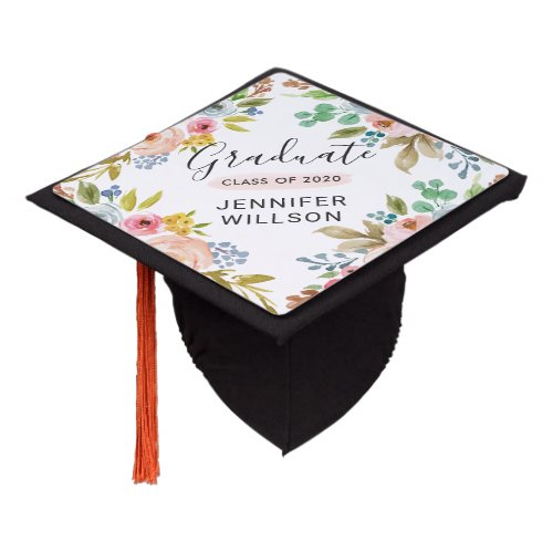 Girly Chic Watercolor Floral Class of Graduate Graduation Cap Topper