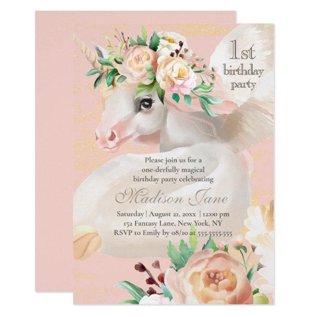 Girly Chic Watercolor Floral Unicorn 1st Birthday Invitation