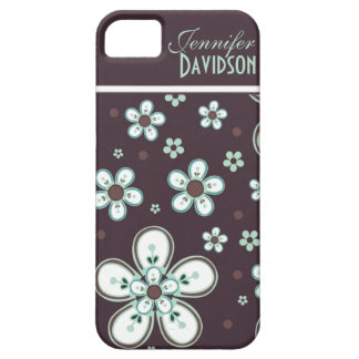 Girly Chocolate Mint Floral Monogram iPhone5 iPhone 5 Case