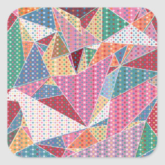 Girly Christmas Flowers Geometric Pattern Square Sticker