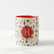 Girly Christmas Reindeer | Monogram Two Tone Mug