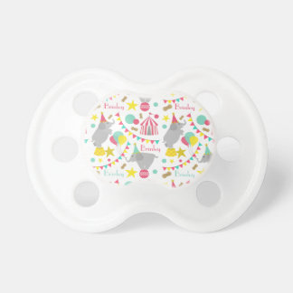 Girly Circus Elephants Personalized Pacifier