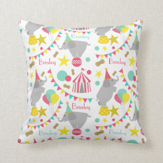 Girly Circus Elephants Personalized Pillow